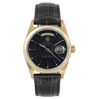 Pre-Owned Rolex Men's 18k Yellow Gold and Black Leather Day-date Model Watch|https://ak1.ostkcdn.com/images/products/12134748/P18991668.jpg?impolicy=medium