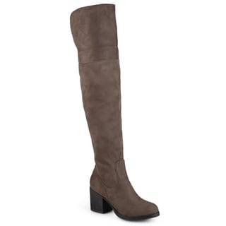 Link to Journee Collection Women's 'Sana' Faux Suede Regular and Wide Calf Tall Round Toe Boots Similar Items in Women's Shoes