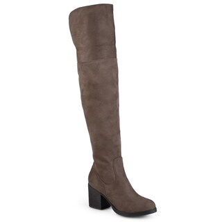 Journee Collection 'Sana' Women's Faux Suede Regular and Wide Calf Tall Round Toe Boots