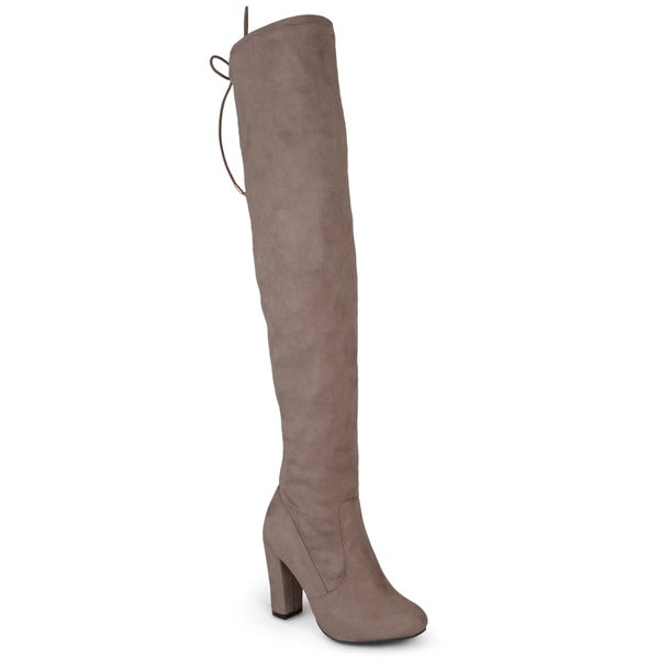 Journee Collection Women's 'Maya' Faux Suede Regular and Wide Calf Over-the-knee Boots. Opens flyout.