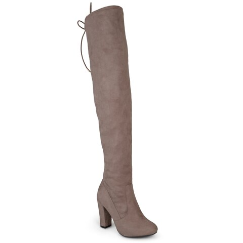 Journee Collection Women's Maya Faux Suede Regular and Wide Calf Over-the-Knee Boots