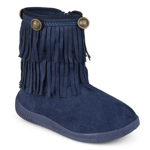 Journee Kids Anza Round Toe Fringed Boots