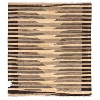 Herat Oriental Afghan Hand-woven Mimana Wool Kilim (3'1 x 3'4)