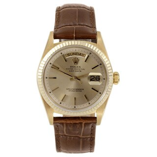 Pre-Owned Rolex Men's Yellow Gold Day-date Watch with Champagne Stick Dial and Fluted Bezel