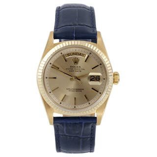 Pre-Owned Rolex Men's Day-Date Yellow Gold Champagne Stick Dial Fluted Bezel Watch|https://ak1.ostkcdn.com/images/products/12134760/P18991667.jpg?impolicy=medium
