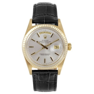 Pre-Owned Rolex Men's Day-Date Yellow Gold Silver Stick Dial Fluted Bezel Watch