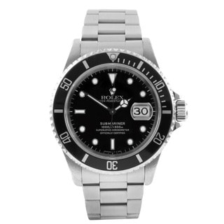sapphire watches overstock com the best prices on designer mens pre owned rolex men s submariner stainless steel black and white sapphire dial automatic watch
