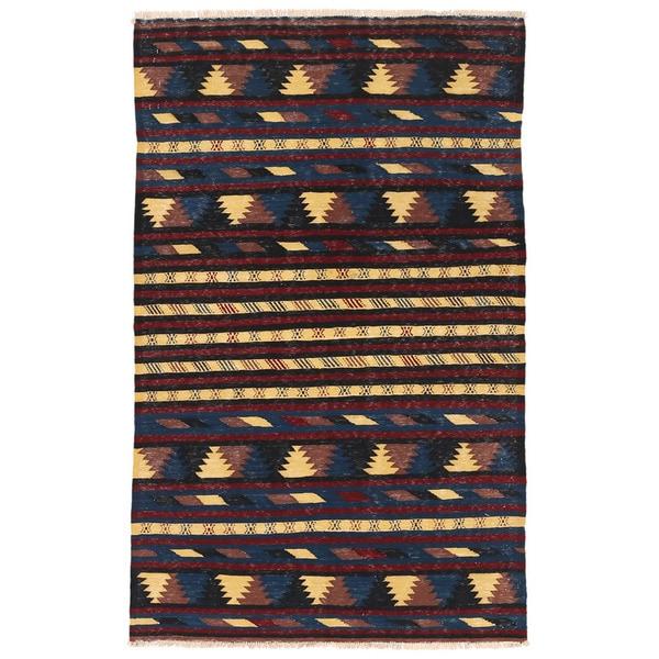 Handmade Herat Oriental Afghan Mimana Wool Kilim - 3'2 x 5'2 (Afghanistan)