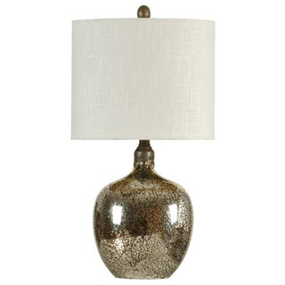 Journee Home 'Dior' 25.5-inch Antiqued Glass Drum Shade Table Lamp