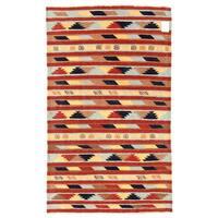 Handmade Herat Oriental Afghan Mimana Wool Kilim - 3'1 x 5'1 (Afghanistan)