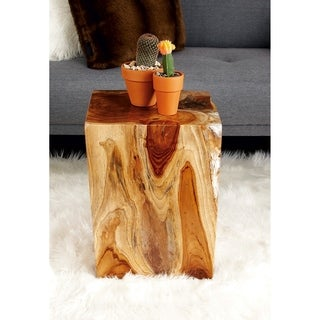 42018 Brown Teak Resin 12-inch x 16-inch Foot Stool