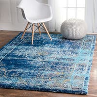 nuLOOM Vintage Inspired Vibrant Blue Shag Rug (4' x 6') - 4' x 6'