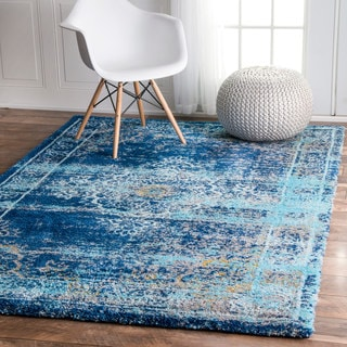 nuLOOM Vintage Inspired Vibrant Blue Shag Rug (5'3 x 7'6)