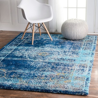 nuLOOM Vintage Inspired Vibrant Blue Shag Rug (8' x 10')