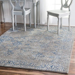 nuLOOM Traditional Distressed Grey Rug (8' x 10')
