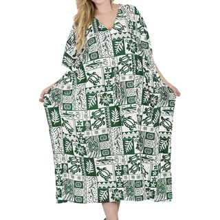 La Leela Women's Green Likre 2-in-1 Kaftan/Maxi Dress