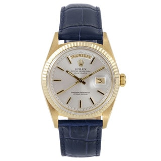 Rolex Pre-owned Men's Yellow Gold Day-Date Model with a Silver Stick Dial and Fluted Bezel