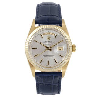 Rolex Pre-owned Men's Yellow Gold Day-Date Model with a Silver Stick Dial and Fluted Bezel|https://ak1.ostkcdn.com/images/products/12134857/P18991829.jpg?impolicy=medium