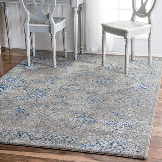 nuLOOM Traditional Distressed Grey Runner Rug (2'8 x 8')