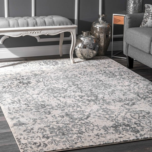 Shop Nuloom Vintage Floral Grey Rug 8 X 10 On Sale