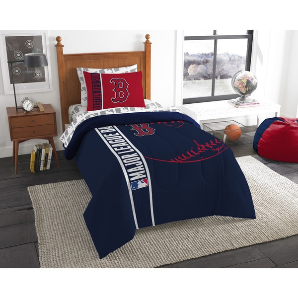 The Northwest Company MLB Boston Red Sox Twin 5-Piece Bed in a Bag with Sheet Set