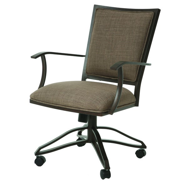 Shop Casual Dining Brown Cushion Swivel And Tilt Rolling: Homestead Caster Tan Brown Finish Steel And Linen Swivel