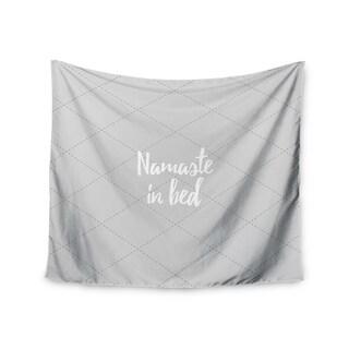 Kess InHouse KESS Original 'Namaste In Bed Grey' White Gray 51x60-inch Wall Tapestry