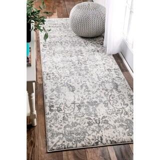 nuLOOM Vintage Floral Grey Runner Rug (2'8 x 8')
