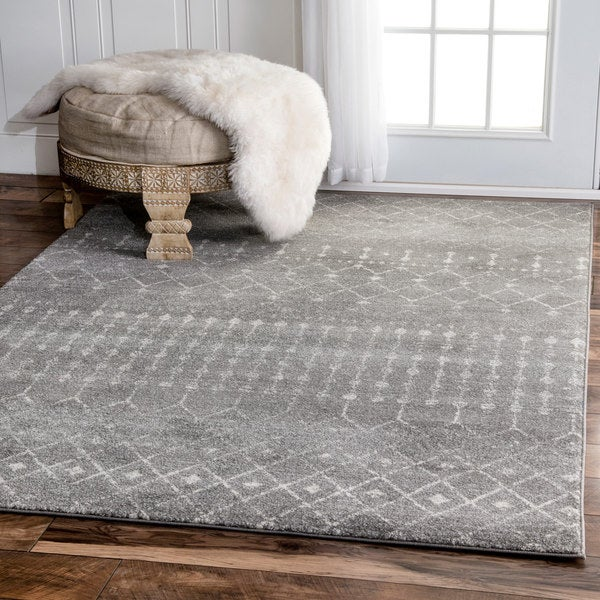 The Curated Nomad Ashbury Beaded Moroccan Trellis Grey Rug 9 X27