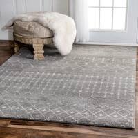 The Curated Nomad Ashbury Beaded Moroccan Grey Runner Rug (2'8 x 8')