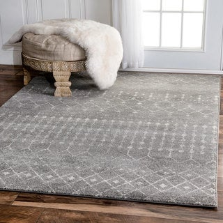 The Curated Nomad Ashbury Beaded Moroccan Grey Runner Rug - 2'8 x 8'