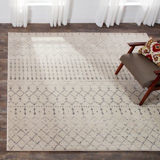 The Curated Nomad Ashbury Beaded Trellis Grey Rug (8' Square)