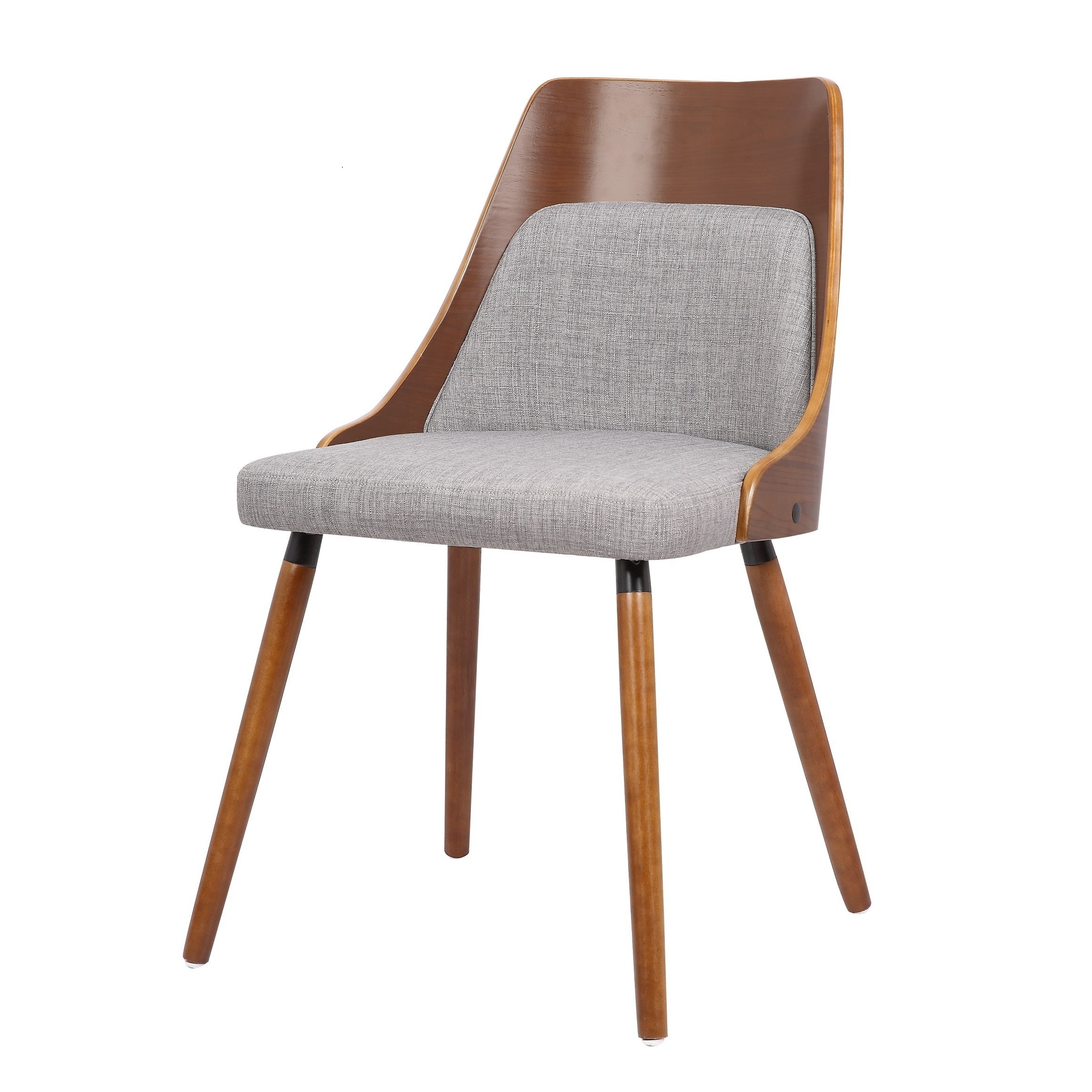 Phenomenal Walnut Plywood And Grey Fabric Dining Chair With Solid Wood Legs Ncnpc Chair Design For Home Ncnpcorg