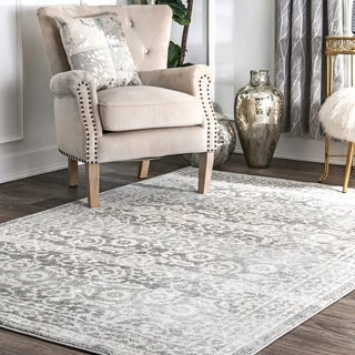 nuLOOM Traditional Floral Silver Rug (4' x 6')