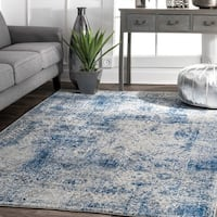 nuLOOM Vintage Distressed Blue Rug - 9' x 12'