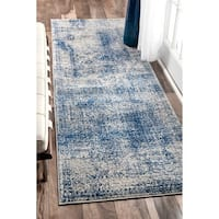 nuLOOM Vintage Distressed Blue Runner Rug (2'8 x 8') - 2' 8 x 8'