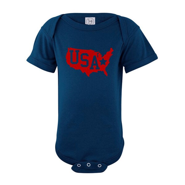 Rocket Bug USA with Stars Baby Bodysuit