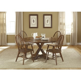 Hearthstone Rustic Oak Drop Leaf Pedestal Table