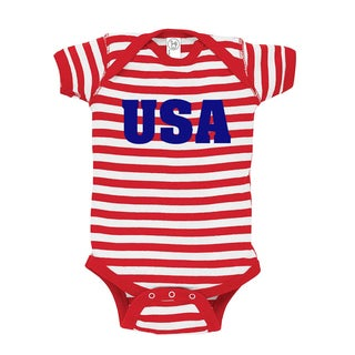 Rocket Bug USA Baby Bodysuit (Red and White Stripes)