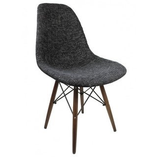 Contemporary Retro Molded style Woven Fabric Slope Side Plastic Dining Chair with Dark Wood Eiffel Legs