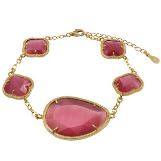 Luxiro Gold Finish Sterling Silver Cherry Pink Sliced Glass Bracelet