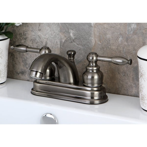 Shop Vintage Nickel Double Handle 4 Inch Centerset Bathroom Faucet Free Shipping Today