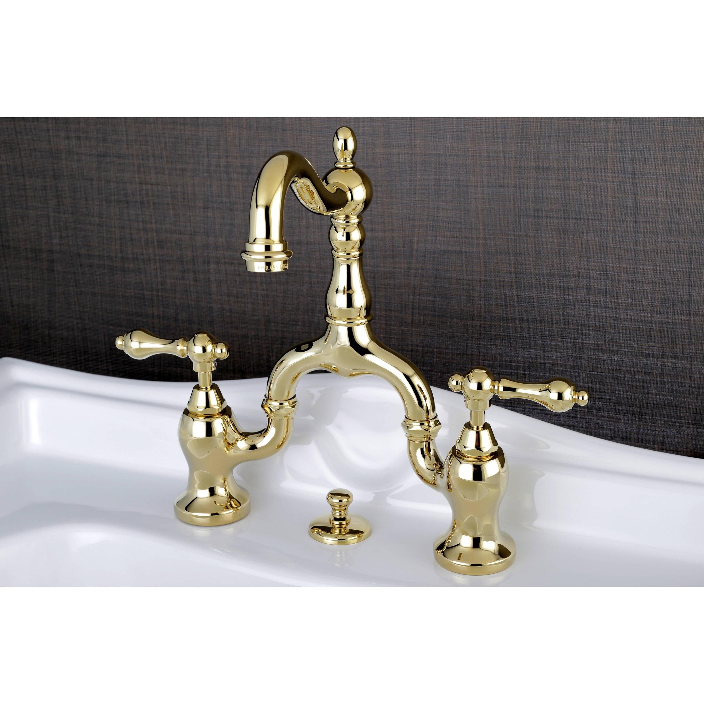 Vintage High-spout Polished Brass Bridge Bathroom Faucet ...