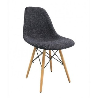 Woven Fabric Plastic Dining Chair with Wood Eiffel Legs