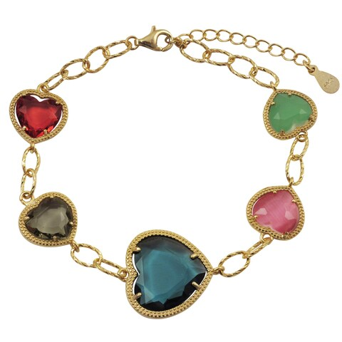 Luxiro Gold Finish Sterling Silver Multi-color Sliced Glass Heart Bracelet - Pink