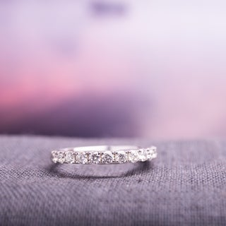 Miadora 10k White Gold 1/2ct TDW Diamond Semi-Eternity Band