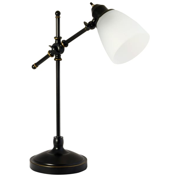 Light Accents Vintage Style Desk Lamp With Frosted White Glass Shade .