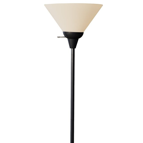 Light Accents Black Painted Metal 100-watt Floor Lamp with White Plastic Shade