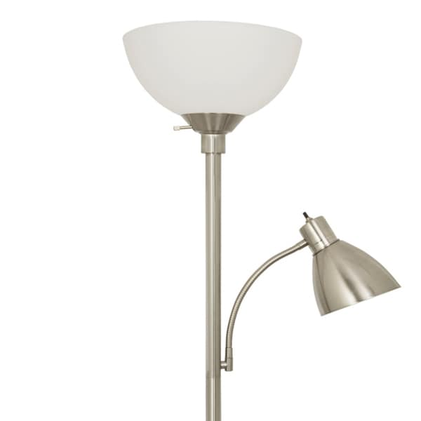 Light Accents Brushed Nickel 150 Watt Floor Lamp With Side Reading