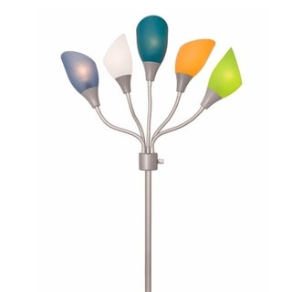 Light Accents Medusa Silver Metal Floor Lamp with Multicolored Acrylic Shades